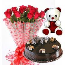 teddy delivery online 12 12 roses bunch n 500 gms chocolate truffle cake and