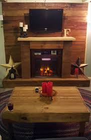 pallet wall with faux fireplace 101 pallets