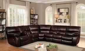 homelegance pecos reclining sectional set dark brown leather gel