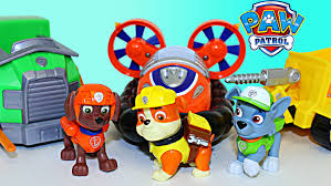 paw patrol toy review zuma hovercraft rubble bulldozer