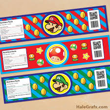 free printable super mario bros water bottle labels free