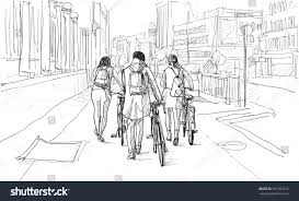 sketch bicycle rider berlin free hand stock illustration 501692515