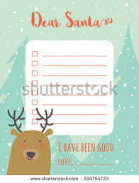 santa gift list christmas wish list christmas trees stock vector 519754723