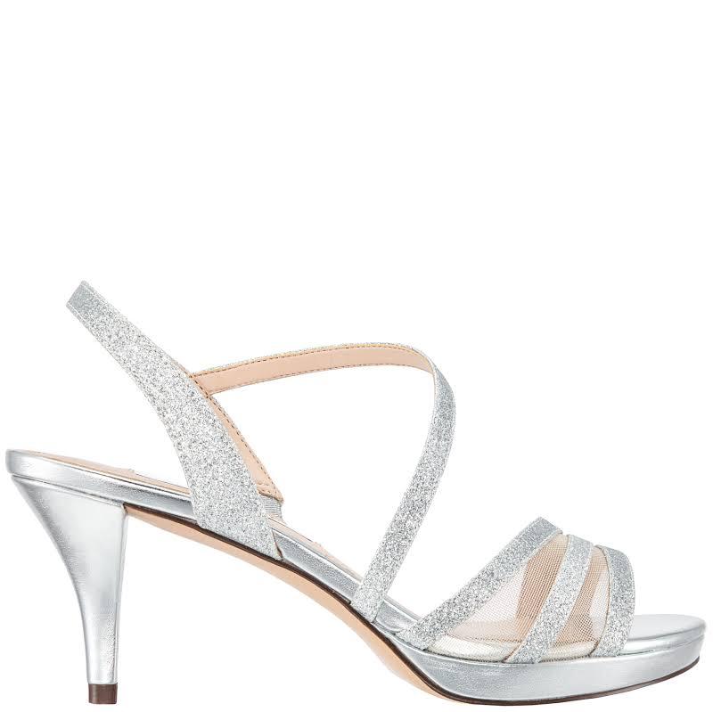 Nina Nazima Open Toe Special Occasion Slingback, Silver Glitter,