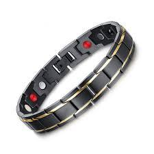 bracelet magnetic stainless steel images Adjustable black men 39 s stainless steel long bracelet magnetic jpg