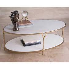 Gold Table L 52 L Oval Coffee Table Solid Iron Base Gold Finish White Marble