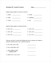 sample scientific notation worksheet 9 free documents download