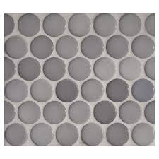 penny round mosaic diamante gris gloss complete tile collection
