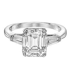 emerald cut engagement rings 3 21 carat emerald cut platinum engagement ring for