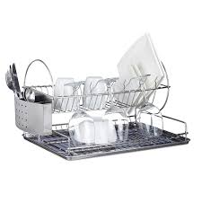 assiette porte verre relaxdays egouttoir à vaisselle 2 étages porte couvert inox grille