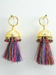 punjabi jhumka earrings flamingo jhumka earrings with green threads the o jays