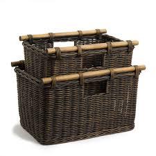 Cane Laundry Hamper by Tall Narrow Wicker Storage Basket The Basket Lady