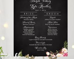 Wedding Program Chalkboard Poster Vintage Etsy
