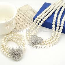 pearl necklace wedding set images Silver heart wedding jewelry sets 3 rows cream pearl necklace jpg