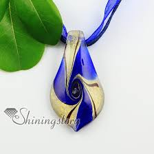 leaf pattern necklace leaf swirled pattern glitter handmade murano glass necklaces