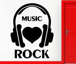 wall stickers vinyl decal i love rock music headphones rock n roll