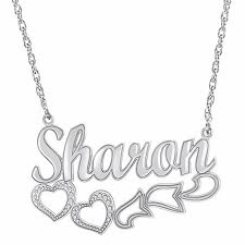 silver necklace with letters images Script name necklace with heart design in sterling silver 8 jpg