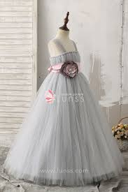 silver 3d beaded flower decorated ball gown straps tulle flower