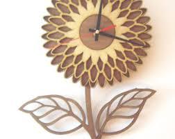 flower wall clock etsy