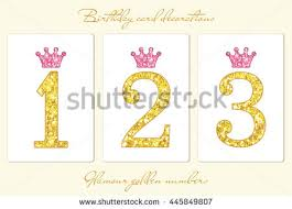 cute baby first birthday card golden stock vector 449356240