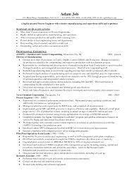 Sample Resume Objectives For Manufacturing by Manufacturing Engineer Resume Resume For Your Job Application