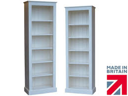 Narrow Bookcase by Traditional White Painted Bookcase 6ft X 2ft Solid Wood Tall