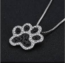 rhinestone pendant necklace images Dog paw rhinestone pendant necklace cool dog accessories jpg