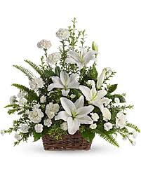 white lillies peaceful white lilies basket teleflora