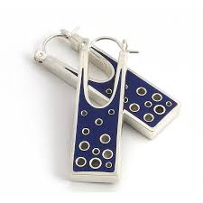 rectangular silver and resin earrings by alinea designs