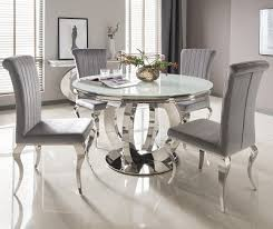 Glass Dining Table With 6 Chairs Serge Living Riviera White Glass Dining Table And 4 Or 6
