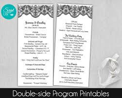 black and white lace wedding program template double sided