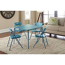 Dining Room Poker Table Amazon Com Cosco Vinyl Folding Table With Chairs Set Game Table