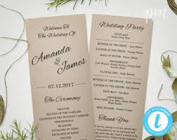 Tea Length Wedding Program Tea Length Wedding Program Template Wedding Program Template