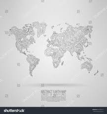Decorative World Map Abstract World Map Consist Wavy Lines Stock Vector 414165217