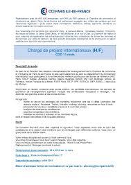 emploi chambre de commerce offre d emploi chargé de projets internationaux h f cdd 11 mois