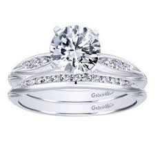 Circle Diamond Wedding Ring by 14k White Gold 85cttw Bead Set Pinched Round Diamond Engagement