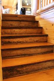 natural edge white pine stair treads with red pine risers create