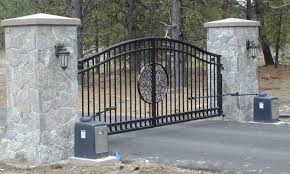 pillars and metal gate gate entry automatic ornamental