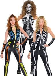 ladies skeleton catsuit costume halloween fancy dress jumpsuit