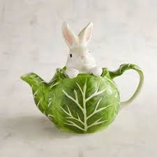 ceramic nature rabbit table l hand painted garden bunny teapot pier 1 imports