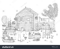 sketch nice garden coloring book stock illustration 127148696