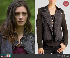 Rugged Clothes Wornontv Hayley U0027s Printed Leather Trim Jacket On The Originals