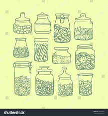cool kitchen canisters vector illustration kitchen jars stock vector 263230250