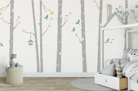 birch tree wall stickers birch tree with birds and bird house birch tree wall sticker in grey