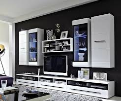Wohnzimmerschrank Mit Schiebet Wohnwand Linus 300x200 Weiss Hochglanz Beleuchtung Möbel Wohnwände