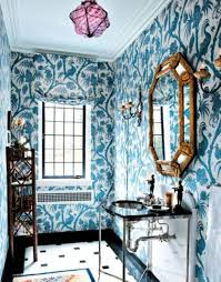 bathroom wall art blue wallpaper with matching window blind and