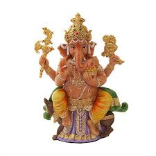 seated ganesha hindu god full color statue for luck remover of