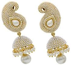 fancy jhumka earrings buy shining pearl polki jhumka fancy party wear earrings for