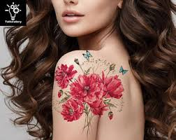 watercolor flower temporary tattoo flower tattoo watercolor