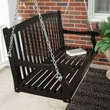 classic curved back slat wood 5 ft porch swing in black weather